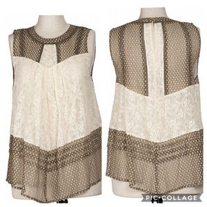 Ryu Brown and Creme Lace Blouse